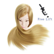 70cm Super Long Cosmetology Mannequin Manikin Synthetic Fibre Training Head Doll Head with Clamp