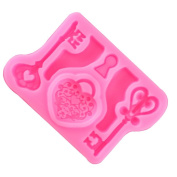 Welim 3D Mould Silicone Mould Cake Mould Fondant Mould Ice Baking Tool suitable for making sugar dessert chocolate or ice love lock the key pattern pink