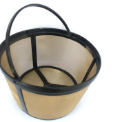 Bovake 12-16 Cup Basket Style Permanent Gold Tone Coffee Filter