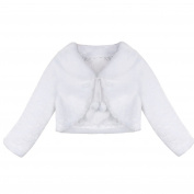 TiaoBug Kids Girls Faux Fur Long Sleeve Coat Wedding Bridesmaid Birthday Party Shrug Jacket
