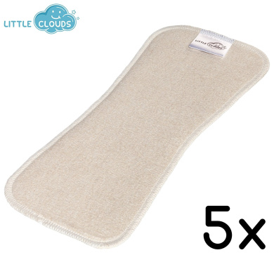 Little Clouds – Bamboo/Hemp/Organic Cotton Pads – Pack of 5, Flushable Nappy Insert (32x13) Absorbent Pad – The Best In The World. Fits All Cloth Nappies.