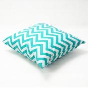 Zantec Decorative Cotton Canvas Square Toss Pillowcase Cushion Cover Handmade Zantec White and Cyan Chevron Stripe Toss Pillowcase with Hidden Zipper Closure
