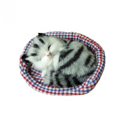 Bluelans Cute Simulation Sounding Sleeping Cat Plush Mat Toy with Nest Kid Children Gift