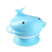 Whale Suction Baby Bowl with Cute Lid & Snap-In Divided Plate Inside BPA Free Feeding Container for Kids & Toddler - Blue