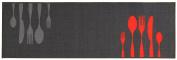 Kitchen Runner / Kitchen Mat / Decorative Runner for Kitchen and Bar Approximately 57 x 140 cm Grey Cutlery Design