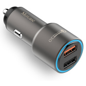 Mercase Fast Car Charger Dual USB [Quick Charge 3.0 and 2.4A, High-Speed Smart Charging, Built-in Safety Protection]Car Charger Adapter for Samsung, iPhone, LG, HTC, iPad and More Car Charger USB