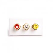 3 x RCA Euro Module. (Red, White, Yellow) Phono Solder Modular, Audio & Video Connexion. White 25mm x 50mm