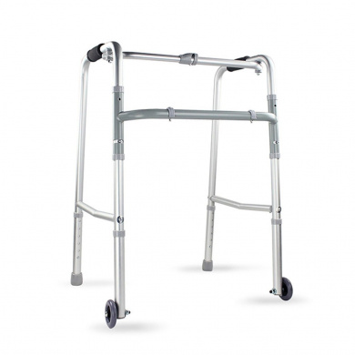 HJHY® Walking aids, Walker Aluminium alloy With front wheel Old man Four feet crutches Telescopic fold Rehabilitation Walker