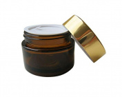 30ML(1 OZ) Amber Glass with Glod Cap and Liners Empty Refillable Cosmetic Face Cream Lotion Lip Balm Jar Pot Bottle Container