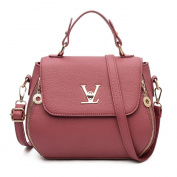 Great Strange Woman single Shoulder Handbag Fashion Litchi Grain Diagonal Cross Packets Shopping Zipper closure Five colours , red bean paste