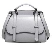 SAIERLONG Ladies Designer Womens Grey Genuine Leather Handbags Tote Shoulder Bags