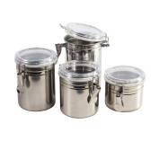 Stainless Steel Tea Coffee Sugar Storage Canisters with Airtight Lids - Set of 4