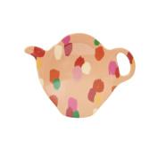 RICE DK Melamine Tea Bag Coaster Plate in Coral Dapper Dots Print