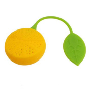 Omkuwl Lemon Shaped Silicone Perforated Tea Filter Infuser Orange Green