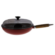Chasseur 28cm Red French Enamelled Cast Iron Fry pan with Wooden Handle and Glass Lid