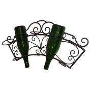 Door Wall Bottle Iron Wine Rack Stores 5 Bottles Brown 11x31x62 cm