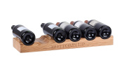 Hollyberry Home 6 Bottle Wine Holder with Bottoms up Engraved, Wood, Natural, 17 x 52 x 5 cm