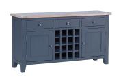Hollyberry Home 3 Drawer 2 Door Wine Table, Wood, Dark Grey, 40 x 150 x 80 cm