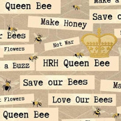 Cotton Fabric - Metre - Studio E - Save Our Bees - Words Beige