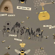 Cotton Fabric - Fat Quarter - Studio E - Save Our Bees - Tossed Bee Motifs Grey