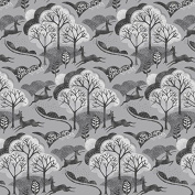 Higgs & Higgs - Makower - Into The Woods - Trees - Grey - Cotton Fabric Quilting Patchwork