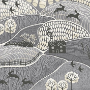 Higgs & Higgs - Makower - Into The Woods - Landscape Main - Grey - Cotton Fabric Quilting Patchwork