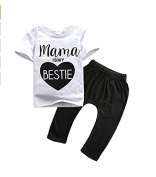 "Kingken Cute Baby Short Sleeve ""Mama is my bestie"" T-shirt and Pants Sets"