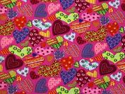 Fancy Patterned Hearts Print Polycotton Dress Fabric Cerise Pink - per metre