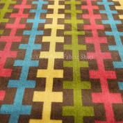 Retro Arcade Pattern Rainbow Green Pink Yellow Brown Blue Multi Coloured Upholstery Velvet Fabric
