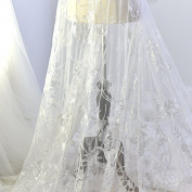 Embroidery Lace Mesh Fabrics White Wedding Dresses Luxury Side Diy Material Clothing Fashion Fabrics width130cm