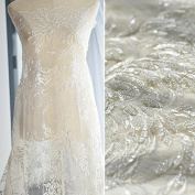 New luxury bead embroidery lace fabric wedding hand diy fabric clothing accessories