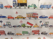 """On The Road Tractors/Diggers Red/Yellow/Blue/Green Cotton 140cm/54"""" Designer Material Sewing Upholstery Curtain Craft Fabric"""