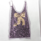 Sequin Insert/Front Sewing Purple with Golden Bow