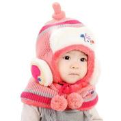 Koly Kids Boys Girls Winter Warm Cute Woollen Coif Hooded Hat Scarf Set Gift Caps Hat