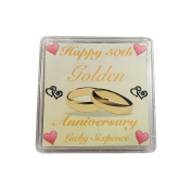 Lucky Sixpence For 50th Golden Wedding Anniversary Keepsake Gift // Great present idea