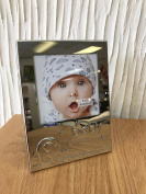 Cute Baby Picture Frame with imprinted Elephant Design and Baby letters. Ideal gift for first time parents or grandparents. Made from High Quality and Durbale Stainless Steel.