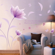 Wall Sticker,FeiXiang♈ Simple Style DIY Purple Flowers Environment Layout TV Background Wall Decoration Wall Stickers 142*220cm