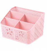 Cdet Desk Organiser Plastic Hollow Flower 5 Lattice Dividers Cosmetic Storage Box Tidy Home Supplies Pink