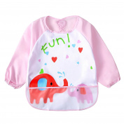 Baby Bib With Sleeves Apron Waterproofing and Wiping - Eating and playing apron