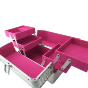 Freahap Tool Boxes Mult-layer Storage Case Makeup Cosmetic Bins With Handle Rose