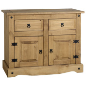 Stylish And Practical Pine 2 Drawer 2 Door Sideboard - Hand Waxed Mexican Inspired Finish - Discting Black Metal Hinges And Handles