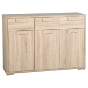 Rustic Style 3 Door 3 Drawer Sideboard - Offers A Lot Of Storage Space - Light Sonoma Oak Finish - A Perfect Addition To Your Dining Room