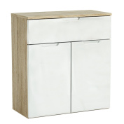 Practical Sleek 2 Door 1 Drawer Sideboard - Natural And High Gloss White Finish - Practical And Pleasing To The Eye