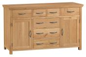 Alberta Oak Large 7 Drawer Sideboard