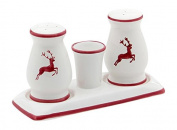 Gmundner Keramik Salt and Pepper Set, Deer Wine Red