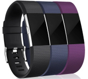 3 Pack Fitbit Charge 2 Wrist Strap , Soft TPE Design Replacement Band Bracelet Fitness Wristband for Fitbit Charge 2