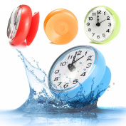 Bathroom Kitchen Waterproof Shower Wall mini Clock Watch Suction Cup Battery Operated Blue Color