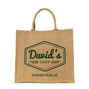 """OFFICIAL Emmerdale """"David's Shop"""" Jute Bag"""