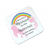 Mermaid and Unicorn Rainbow Wooden Glossy Coaster Gift