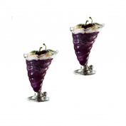 Glass Ice Cream Sundae Milkshake Glasses Set of 2 Shell Style